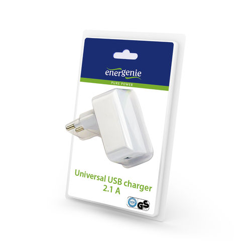 Universal USB charger, 2.1 A, white color